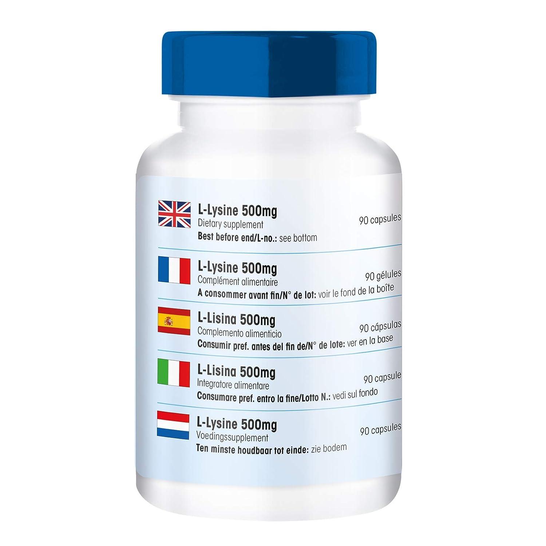 L - Lisina 500 mg - Polvo de Lisina en cápsulas - Vegana - Alta ...