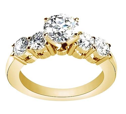 AFFY Anillo de boda de oro sólido de 14 quilates con circonita cúbica (1,34 quilates, 0,50 quilates) centro: Amazon.es: Joyería