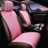 Red Rain Universal Seat Covers for Cars Leather Seat Cover Pink Car Seat Cover 2/3 Covered 11PCS Fit Car/Auto/Truck/SUV (A-Li