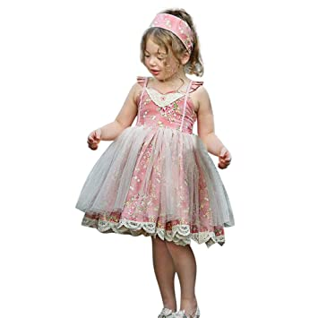 9eceef45c69 Amazon.com: Hstore Girl Dress Flower Lace Princess Party Pageant ...