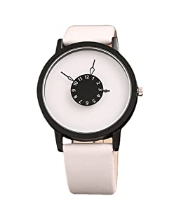 Auntwhale Round Case Quartz Analog Watches Luxury Minimalist Watches Simple Couple Lovers Wrist Watch Leather Band Watch Turntable dial Men and Women Wrist Watch Black & White