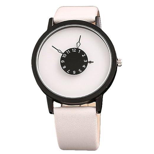Rosepoem Relojes análogos de cuarzo de caja redonda Relojes minimalistas de lujo Pareja simple amantes reloj Reloj de pulsera de cuero Dial de la placa ...