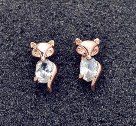 Chokushop New Fashion accessories jewelry rose gold filled crystal stone fox stud gift for women girl Top quality E2566