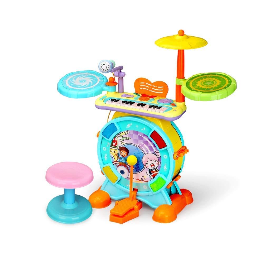 Blau LINGLING-Trommel Kinder Drum Toy Set Percussion Instrument Tastatur Geschenk Puzzle Früherziehung Schlagzeug Kit + Kopfhörer (Farbe   Blau)