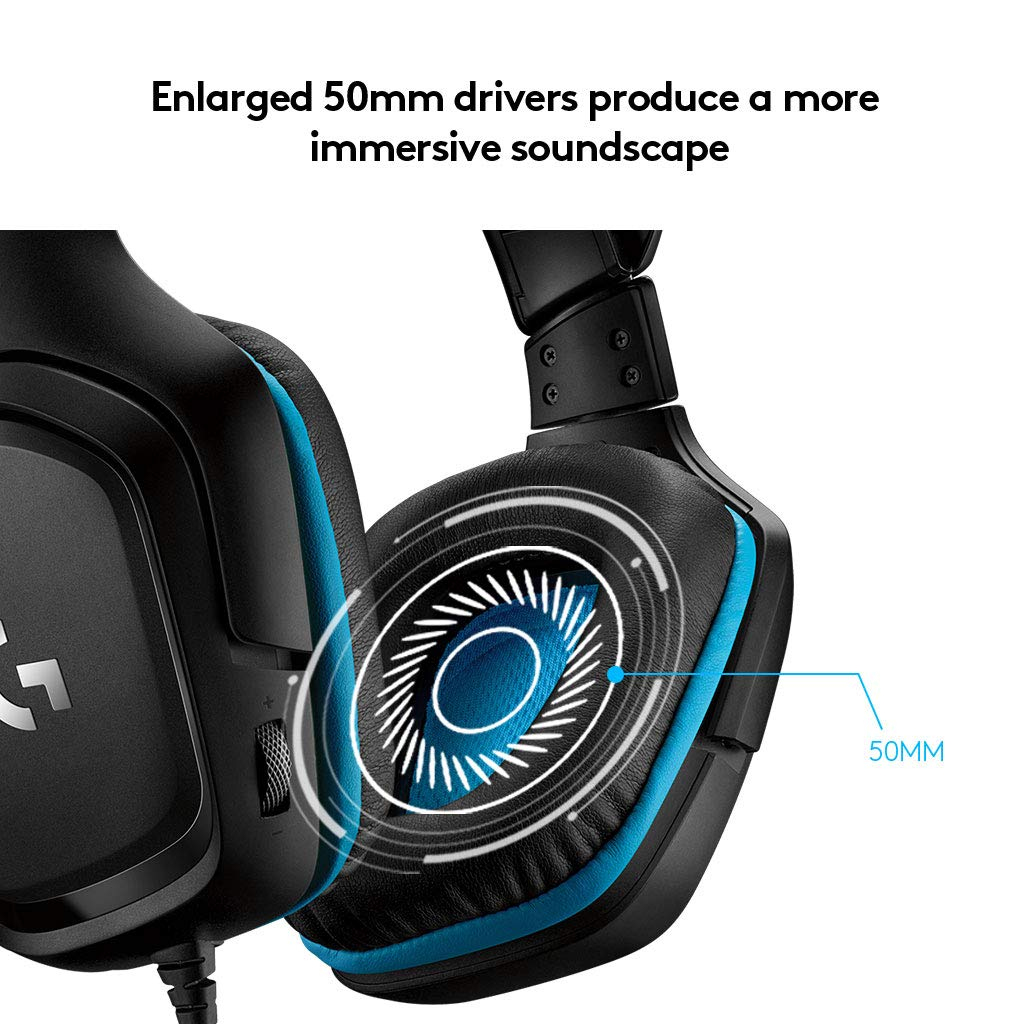 Auriculares Gaming para PC PS4 y Switch Xbox One Color Negro y Azul Logitech G430