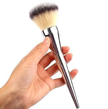 Powder Brush,Cosmetic Makeup Brush Foundation Face Blush Loose Powder Brush  Kabuki Brush Silver