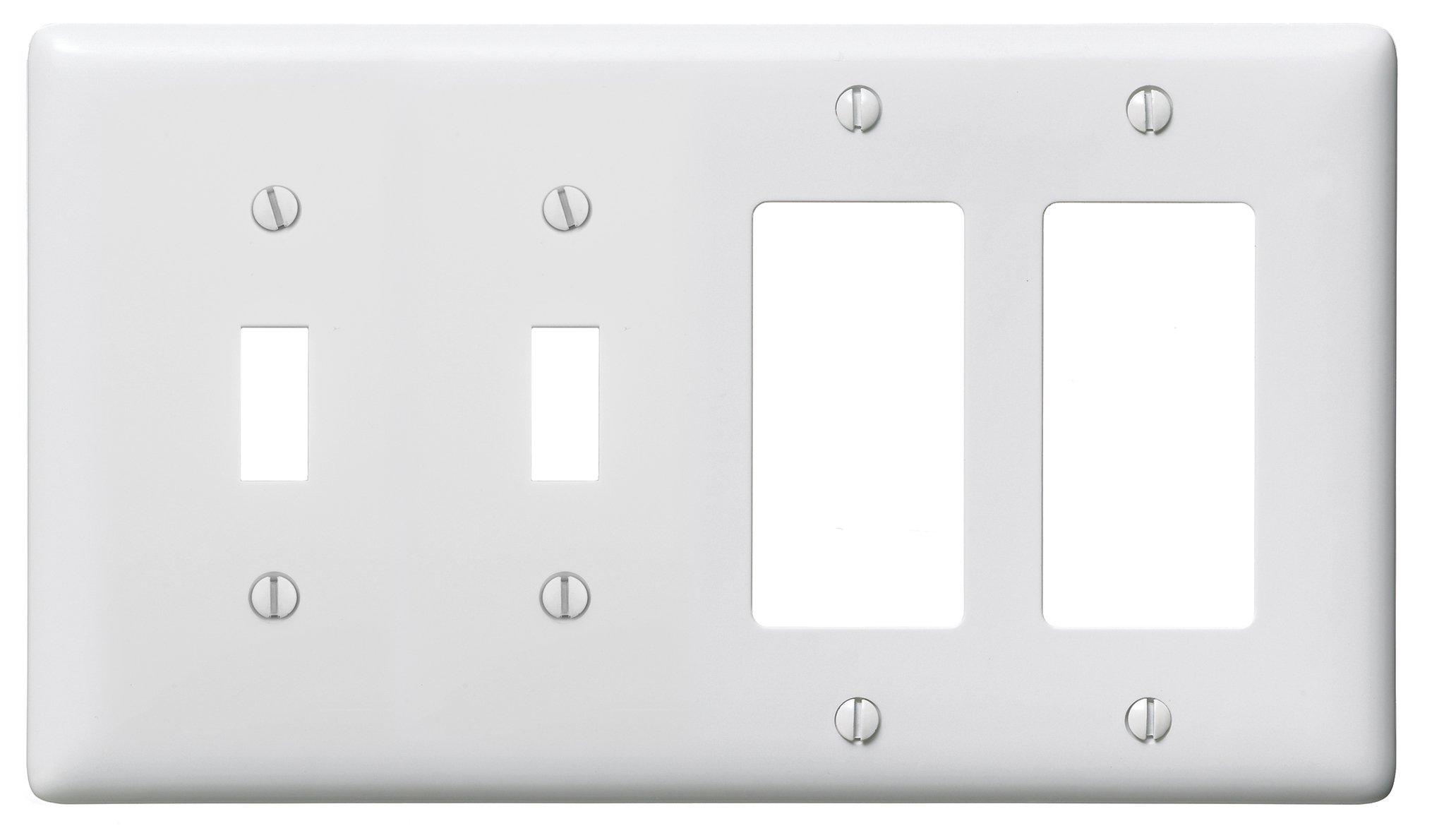 Bryant Electric NP2262W Wallplate, Nylon, Standard Size, 4-Gang, 2 Toggle, 2 Decorator/GFCI, White