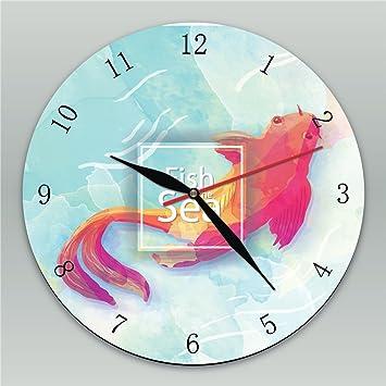 L.R.R Serie de Peces Reloj de Pared de Madera Reloj de Madera Moderno para niños Dormitorio