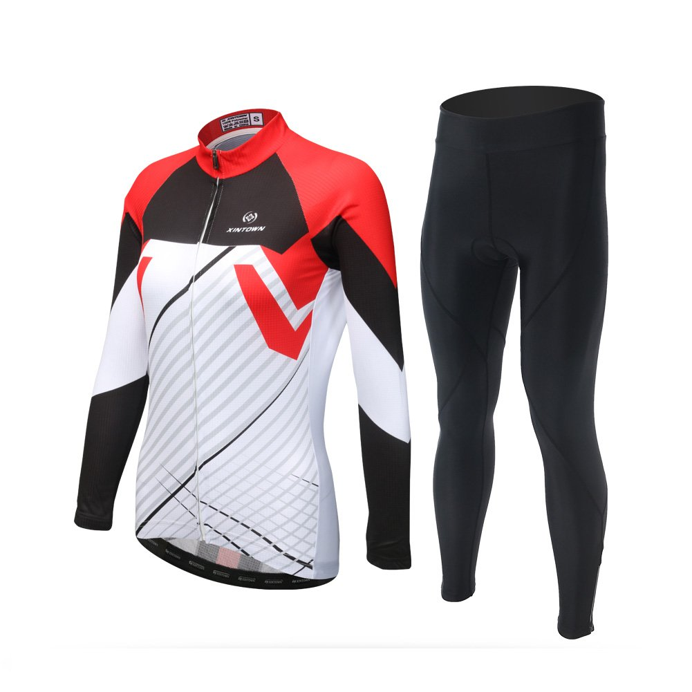 DuShow Women Thermal Fleece Cycling Bike Bicycle Jersey Long Sleeve and 3D Padded Pants Sets