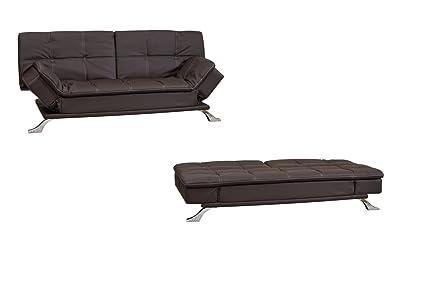 Divano Letto Curvo : Gfd elegante marrone reclinabile in cuoio rigenerato divano letto
