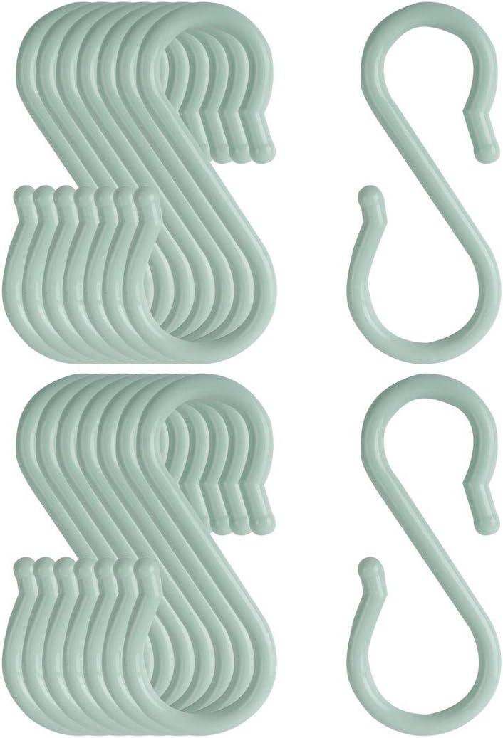 sourcing map S-f/örmigen Haken Kunststoff f/ür K/üche Bad Closet Hanger T/öpfe und Pfannen Tassen Utensilien Kleidung Handt/ücher Rack Hellblau 20stk.