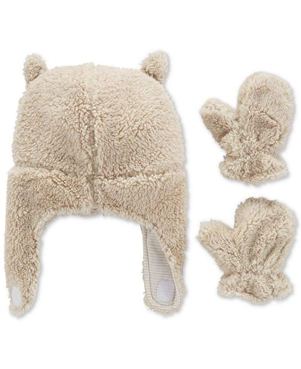 Carter's Baby Sherpa Hat & Mittens Set, Tan/Stripes, 12-24 Months by Carter's