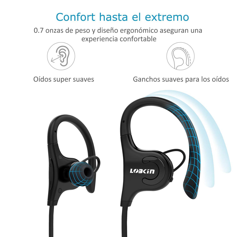 Auriculares Bluetooth, LOBKIN S2 Auriculares inalámbricos a Prueba de Agua IPX5, Altavoces estéreo HD con micrófono, Auriculares con cancelación de Ruido (Negro) (Negro)