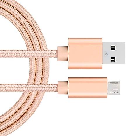 iMusi USB Cable Cargador, Cable de Carga Rápida para Android, USB Cable de Datos (1m, Nylon, Oro Rosa)