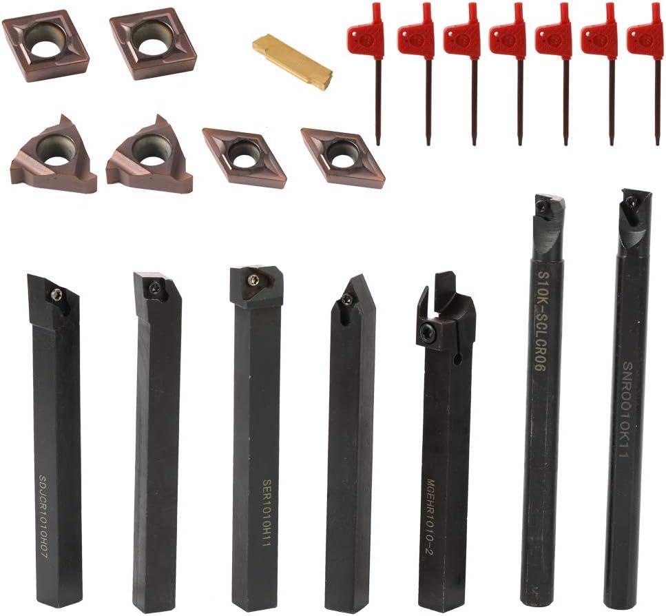 KKmoon 21 UNIDS Herramienta de Torneado,Inserto de Carburo,Cuchillas de Torno Metal,Inserto de Carburo Multifuncional con Llave(TIPO 1)