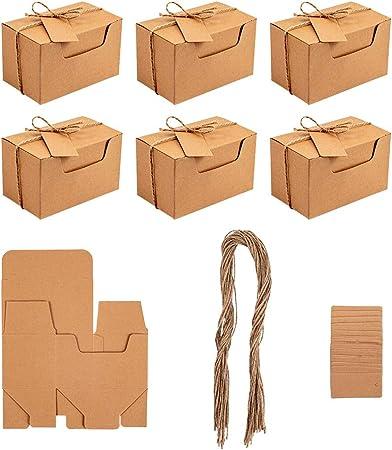 NBEADS Caja de Papel de Cáñamo, 30 Juegos Caja de Cartón Plegable para Alimentos con Etiqueta de Cordón para Pastel de Dulces de Favor de Boda y Regalo de Bricolaje, 10x6x6cm: Amazon.es: