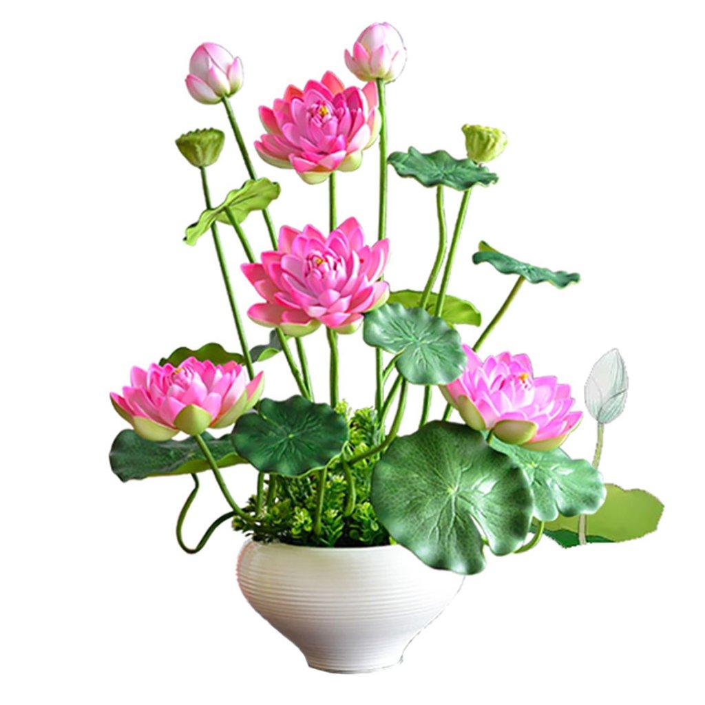 GWM 人工花、偽のリアルタッチの花シルクプラスチック、ロータス、ホームガーデンパーティーウェディングデコレーション B07FR6H8R9
