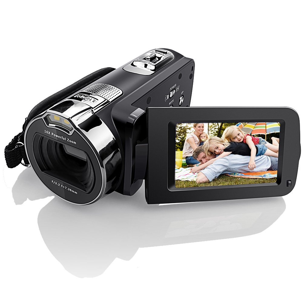Eamplest Video Camera 1080P HD Camcorder Recorder 24MP 16X Digital Zoom Video Camera 2.7''LCD with 270 Degree Rotation Screen Fill-in Infrared LED Light Pause Function Camera Bag(CA12)