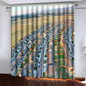 Musesh 52X63 Inch Curtains 2 Panels Small Window Curtains Blackout Window Curtain Springs View Areal Blackout Curtains for Bedroom Kitchen