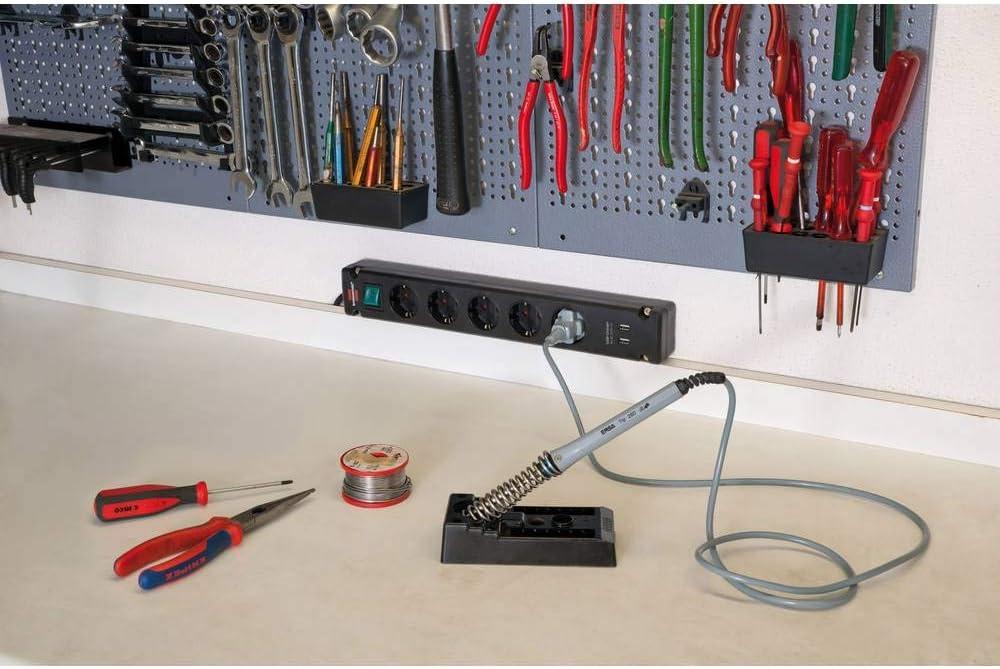 wei/ß Brennenstuhl Bremounta Steckdosenleiste 5-Fach mit USB-Ladefunktion Steckerleiste mit Befestigungsm/öglichkeit, 3m Kabel und Kindersicherung