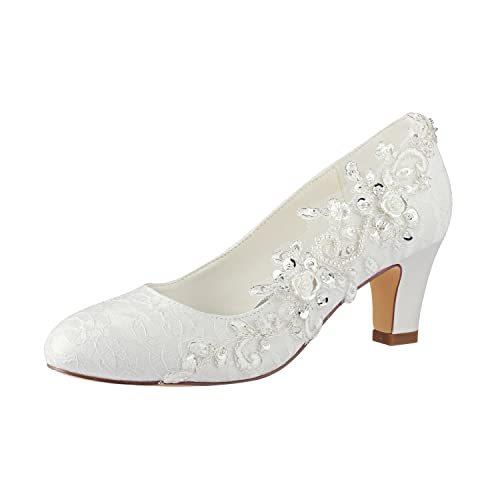 28ccbb449fc Emily Bridal Wedding Shoes Women s Silk Like Satin Chunky Heel Pumps with  Stitching Lace Flower Crystal Pearl  Amazon.co.uk  Shoes   Bags