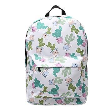 Kimruida - Mochila de Viaje para Ordenador portátil, diseño de Cactus, Mujer, Verde, Talla única: Amazon.es: Deportes y aire libre