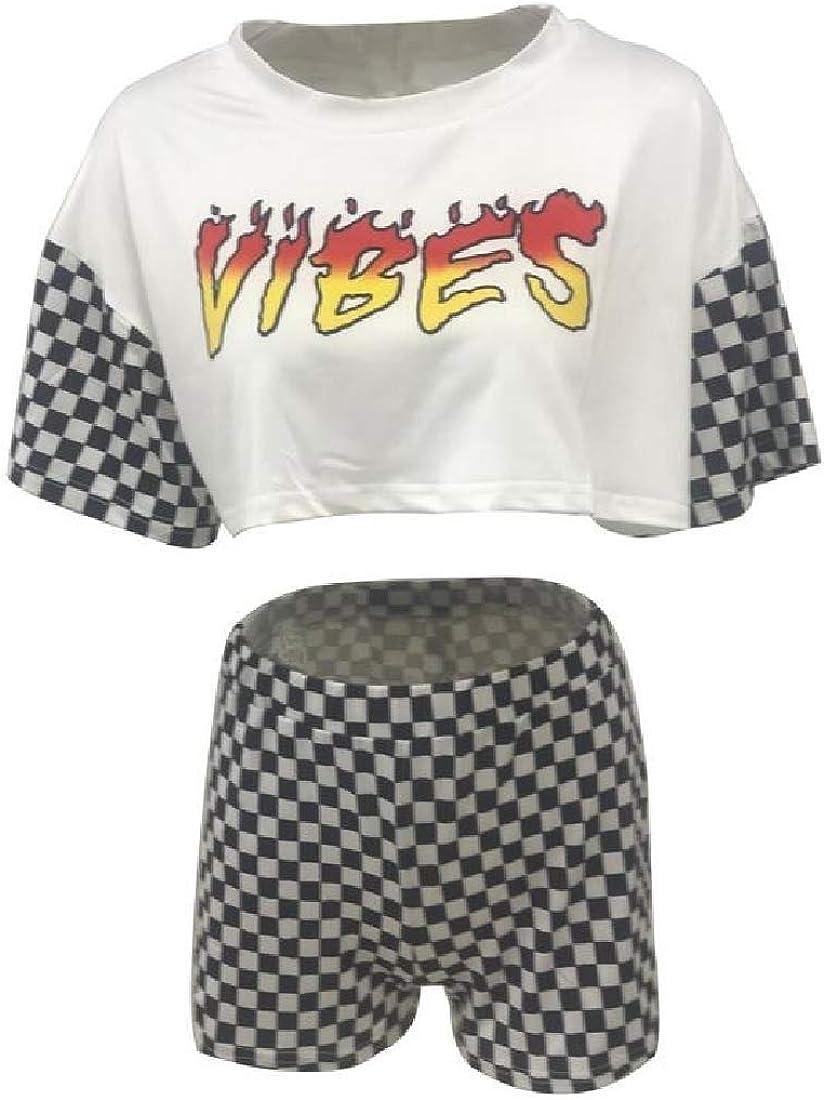 Womens 2 Piece Outfits Jumpsuits Short Sleeve Crop Tops High Waist Shorts Romper Set