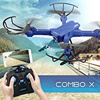 RC Quadcopter Mini Drone, JJRC 4 Channel 2.4GHz 6-Axis Gyro Helicopter with 720P HD Camera LED Lights WiFi FPV Headless Mode 3D Roll Toys For Adult Kids Aerial Photography Racing, by ECLEAR