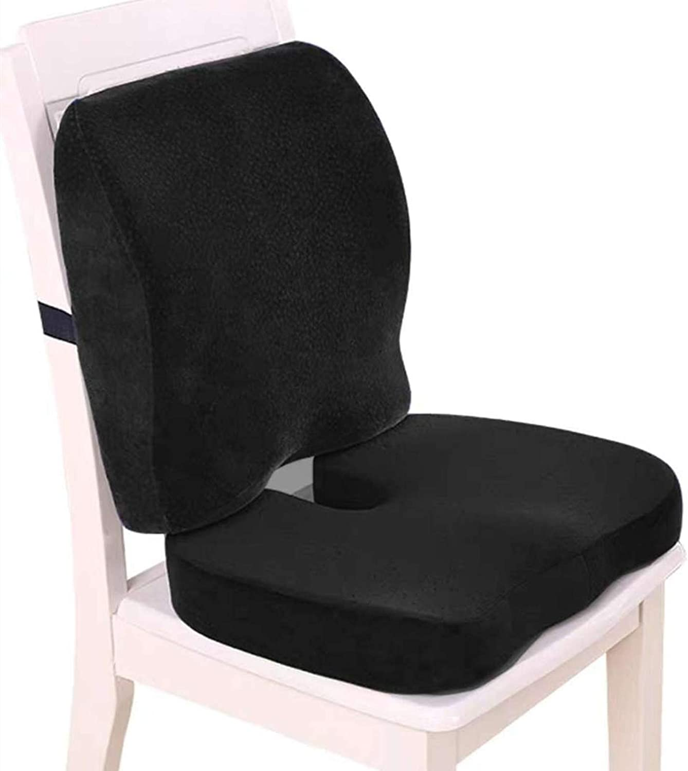 Memory Foam Seat Cushion and Lumbar Support for Office Chair, Desk Chair Cushions Ergonomically Designed for Coccyx, Tailbone, Butt and Lower Back