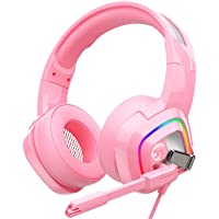 ZIUMIER Z66 Pink Gaming Headset for PS4, Xbox One, PC, Wired Over-Ear Headphone with Noise Isolation Microphone, LED RGB…