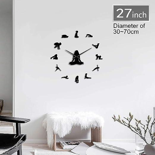 CNCN Chica de diseño de Yoga DIY 3D acrílico Reloj de Pared ...