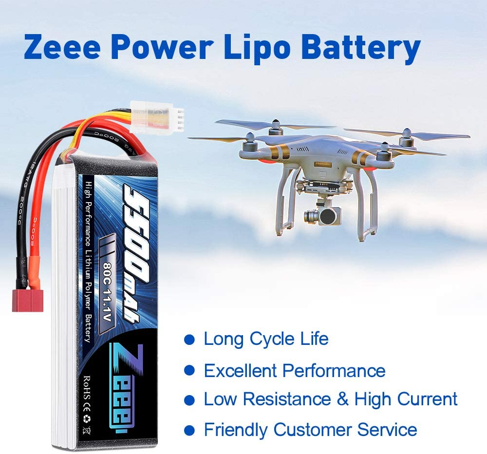 Zeee 11.1V 80C 5500mAh 3S Lipo Battery with Deans and XT60 Plug Soft Case Battery for Airplane Helicopter DJI F450 Quadcopter Car Truck Boat RC Hobby 2 Pack
