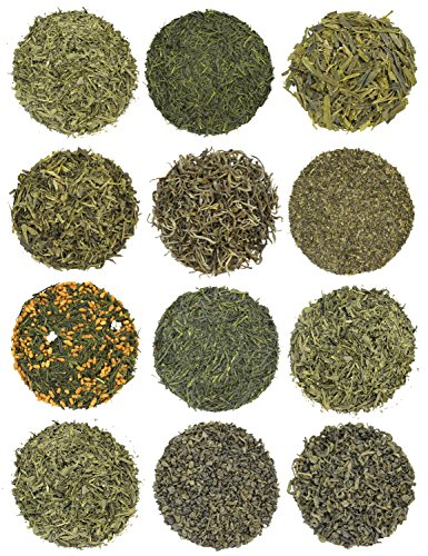 Super Green Tea Sampler - 12 Exotic Loose Leaf Green Teas from Japan & China, 12-4oz (Japan Tin)