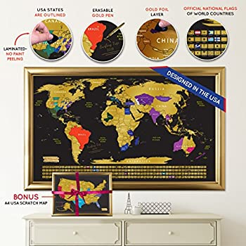"""Scratch off Map World Travel Poster With US States Outlined Country Flags 30"""" x 17"""" 