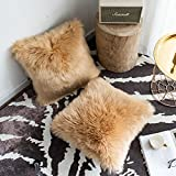 Foindtower Set of 2 Mongolian Faux Fur Square Decorative Throw Pillow Covers Cushion Case New Luxury Series Merino Style for Livingroom Couch Sofa Nursery Bed Home Decor 18x18 Inch (45x45cm) Taupe