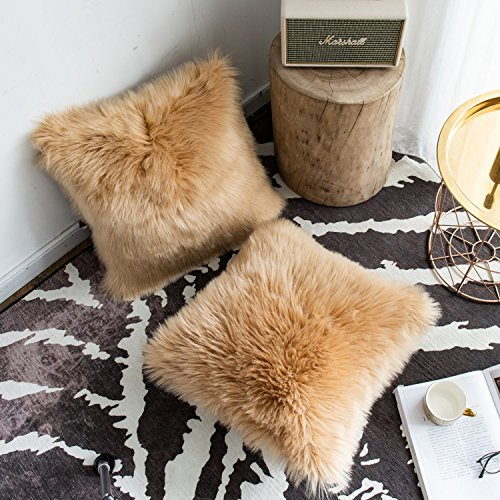 Faux Fur Pillow Cover - Foindtower Set of 2 Mongolian Faux Fur Square Decorative Throw Pillow Covers Cushion Case New Luxury Series Merino Style for Livingroom Couch Sofa Nursery Bed Home Decor 18x18 Inch (45x45cm) Taupe