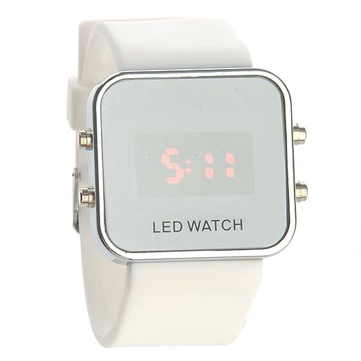NICERIO Digital LED rojo unisex, reloj cuadrado de moda con esfera espejo para hombre Mujer