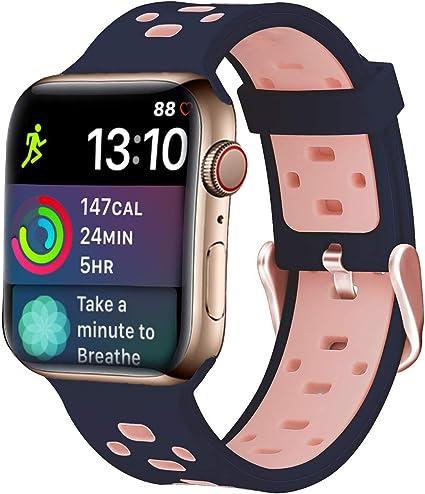 iBazal Correa Compatible con iWatch Series 4 3 2 1 Correas 44mm 42mm Silicona Caucho Pulseras Bandas de Reemplazo con Estuche TPU reemplazo para Apple Watch Mujeres Reloj Accesorio: Amazon.es: Electrónica