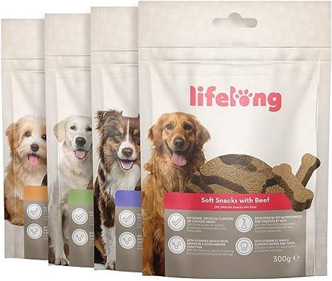 Marca Amazon - Lifelong - Treats para perros, ricos en proteínas, con cordero, pato, pavo y vacuno (4 packs x 300gr)