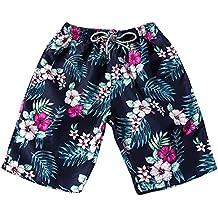 OUBAO Men's Pants Camo Colorful Swim Trunks Beach Board Shorts with Lining Sportwear Quick Dry Board Underwear Homewear Women
