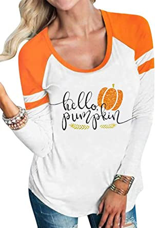 Pumpkin Thanksgiving Casual Raglan Tee Baseball Tshirts Tops Blouse Womens Summer Short Sleeve