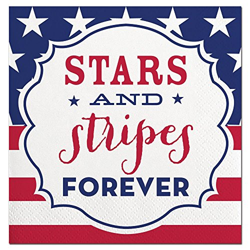 Slant Collections Stars and Stripes Forever Paper Beverage - Collection Napkins Beverage