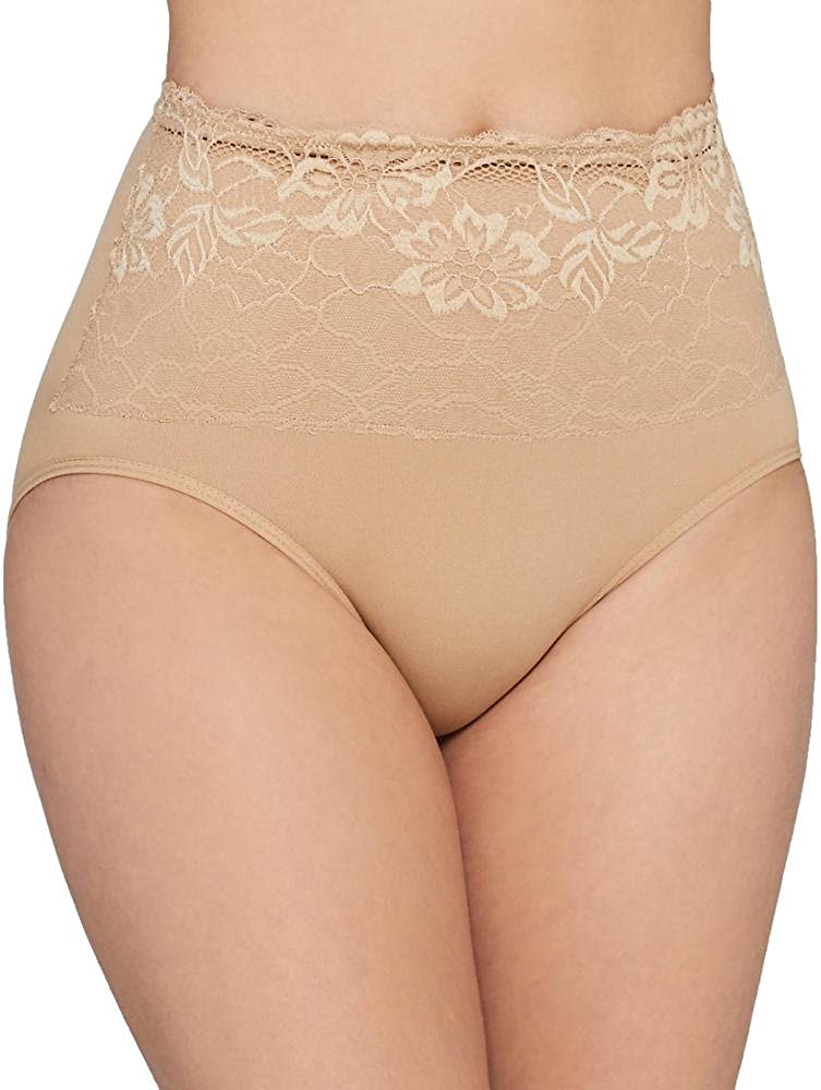 Ahh By Rhonda Shear Womens Seamless Brief with Lace Overlay,