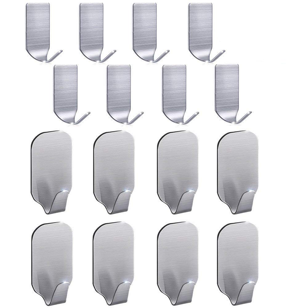 Adhesive Hooks, Wall Hooks Waterproof Stainless Steel Ultra Strong Heavy Duty Hooks for Hanging Coat Robe,Towel, Keys, Bags, Home, Kitchen, Bathroom (Set of 16)
