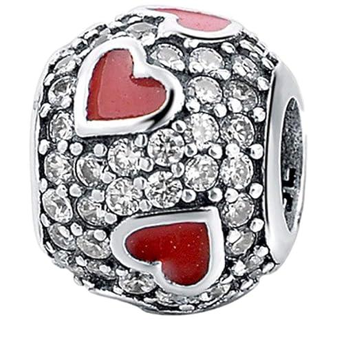 d2f91076ee6bda Truly desiderare di gioielli, splendido charm in argento Sterling 925 con  zirconia cubica trasparente e