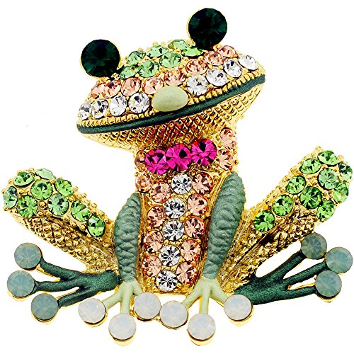Erinite Green Frog Pin Swarovski Crystal Pin Brooch And Pendant (Brooch Crystal Swarovski Frog)