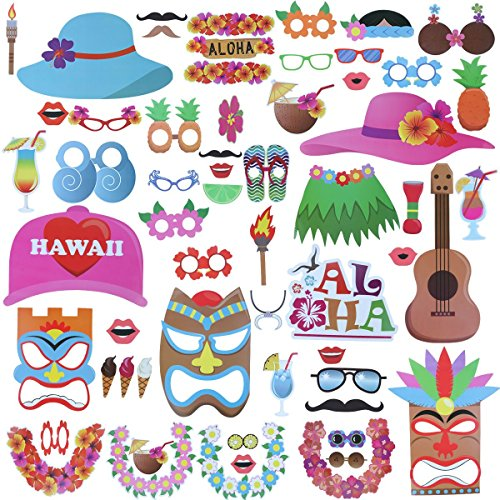 60pcs Luau Hawaii Photo Booth Props,for Beach Pool Parties,Holiday,Summer,Tiki,Tropical,Birthdays,Graduation Party - Holiday Photos Party