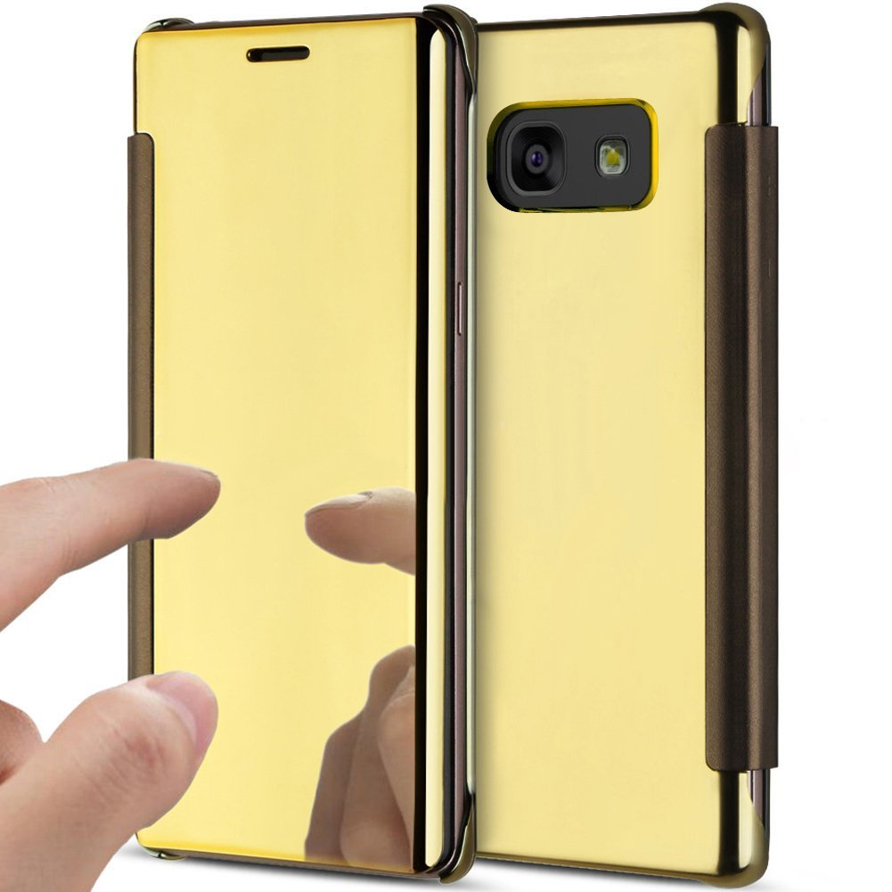 PHEZEN Galaxy A7 2017 Case, Galaxy A7 2017 Luxury Mirror Makeup Case Plating Clear View PU Leather Flip Folio Case Magnetic Closure Full Cover Case for Samsung Galaxy A7 2017(Gold)