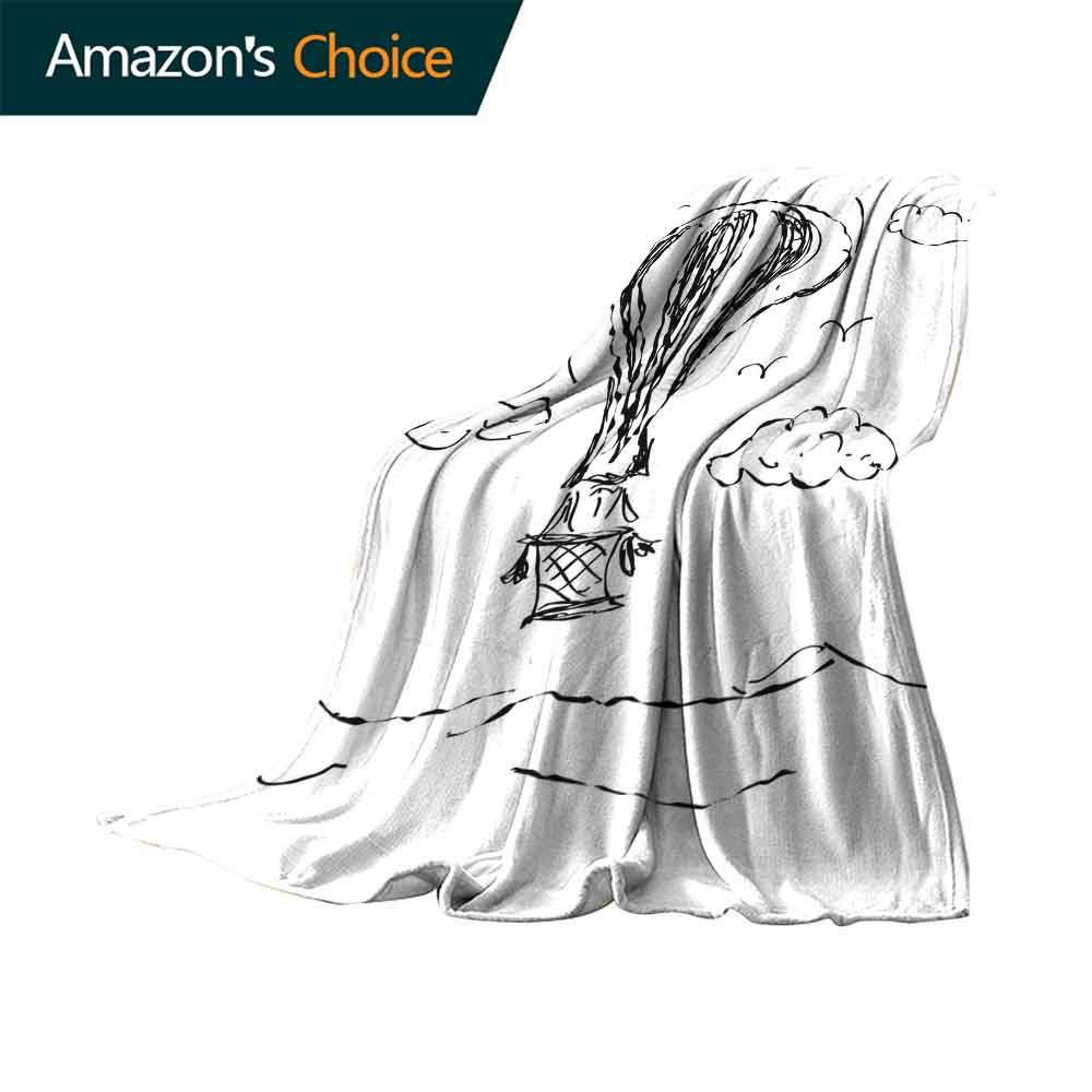 vanfan-home Modern Sand Free Beach Blanket,Hot Air Balloon Sketch in The Clouds Murky Air Journey Artistic Picture Soft Summer Cooling Lightweight Bed Blanket (62''x60'')-Charcoal Grey White