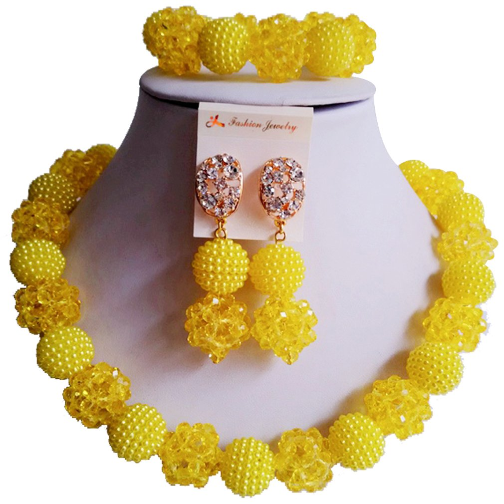 Amazon.com: laanc 1 Layer Yellow Crystal Jewellery Set, 18